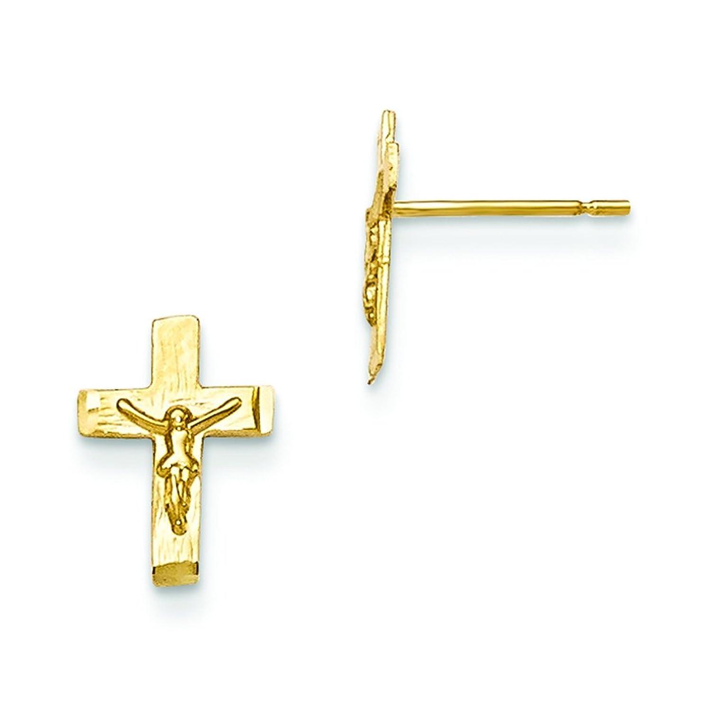 14K oro amarillo Madi K D/C de los niños Crucifijo Post pendientes gk697