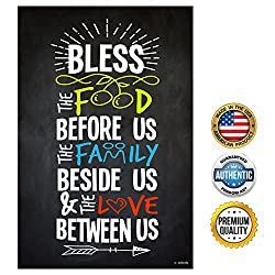 ZENDORI POSTER Bless Food Family Love Print on Canvas Paper (No Frame) - 12 x 18