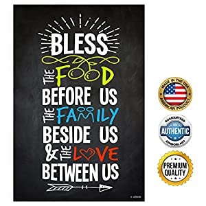 """ZENDORI POSTER """"Bless Food Family Love"""" Print on Canvas Paper (No Frame) - 12"""" x 18"""""""