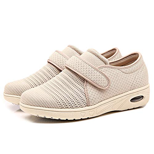 (Orthoshoes Womens Edema Shoes Mesh Breathable Lightweight Walking Sneakers Air Cushion for Diabetic, Elderly, Swollen Feet, Plantar Fasciitis, Breathable - Beige, 7)