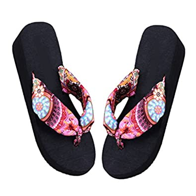 Catnew Women Beach Soft Wedge Shoes Bohemia Flip Flops Flat Platform Slippers 50%OFF
