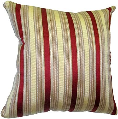 ReynosoHomeDecor 26×26 Burgundy and Gold Stripes Brocade Decorative Throw Pillow Cover