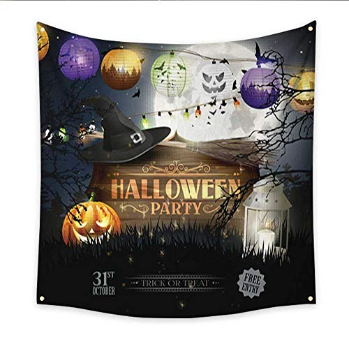 Anniutwo Tapestry Art Halloween Party Flyer Dorm Living Room Bedroom 70W x 70L Inch