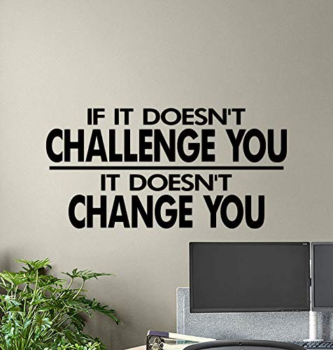 If It Doesn't Challenge You It Doesn't Change You Wall Decal Gym Quote Vinyl Poster Motivational Wall Art Workout Fitness Decor Sticker Home Inspirational Quotes Sport Gifts Mural Removable Print 895