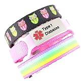#5: 3 Bracelet Value Pack | Type 1 Diabetes, Kid's Medical Alert Bracelets | Choice of Fun Designs | Children's Medical ID Bracelets | Adjustable