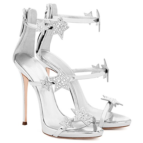 Summer Women Black High-heeled Shoes Sandals Stars Rhinestone Buckle Strap Sexy Pumps Wedding Sandals Court Shoes Silver y6YttON