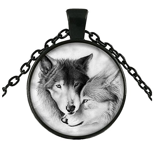 Channel Set V Shape Earrings (Darkey Wang Woman Fashion Jewelry Unique Black And White Double Wolf Gemstone Pendant Necklace (Black£)