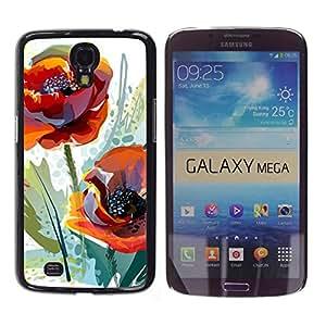 GOODTHINGS Funda Imagen Diseño Carcasa Tapa Trasera Negro Cover Skin Case para Samsung Galaxy Mega 6.3 I9200 SGH-i527 - flor de amapola naranja acuarela verde
