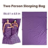 Azarxis Sleeping Bag Liner Travel Sheet Sleep Sack Blanket for Adult Cotton Lightweight Ultralight Envelope Compact - Double 2 King/Single 1 Queen (Purple (2 Person) - 86.61 x 63 inches)