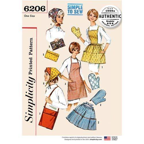 Simplicity 6206 Retro 1960's Apron Mitt Scarf Bag & More Sewing ()