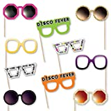 Big Dot of Happiness 70's Disco Glasses - Paper Card Stock 1970s Disco Fever Party Photo Booth Props Kit - 10 Count