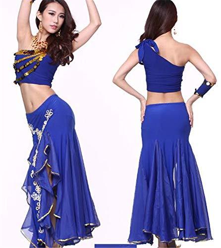 blue des Hauts Jupes Ensemble Ventre Danse Costume Les Stade peiwen des Inde Danses Shining et Danse Performance a6RHCqwUx
