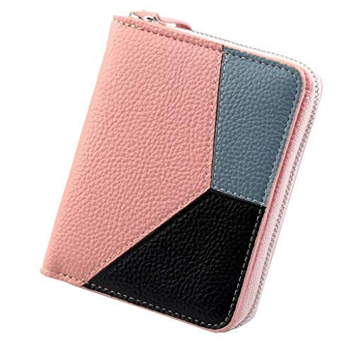 (vermers Womens Zip Around Wallet Vintage Fashion Small Purse Money Bag Coin Pocket Clutch Bags(Pink))