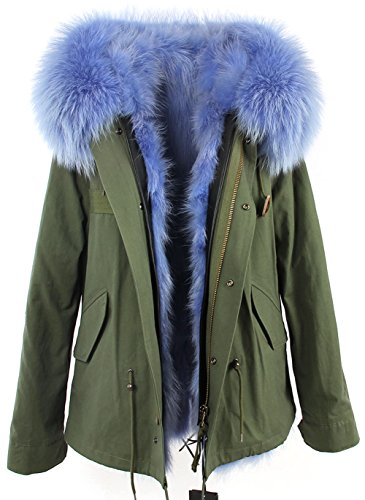 S.ROMZA Women Real Warm Raccoon Fur Parka Jacket Hooded Coat Detachable Fur Trim (US 12, Army&Blue)