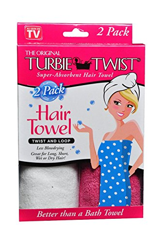 Turbie Twist Microfiber Absorbent Pink White product image