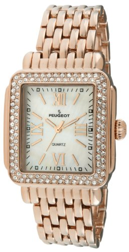 Peugeot Rectangle Crystal Bezel Roman Numeral Dial 14K Rose Gold Plated Bracelet Dress Watch 7080RG