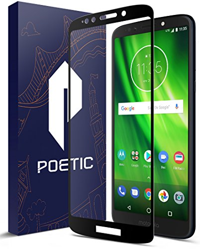 Moto G6 Play Screen Protector, Poetic [HD Clear][Case Friendly][Anti-Fingerprint] Premium Tempered Glass Screen Protector for Moto G6 Play Black