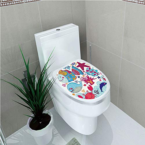 - Toilet Custom Sticker,Whale,Funny Fishes Starfish Coral Crab Underwater Life Waves Marine Clipart Illustration,Multicolor,Diversified Design,W11.8