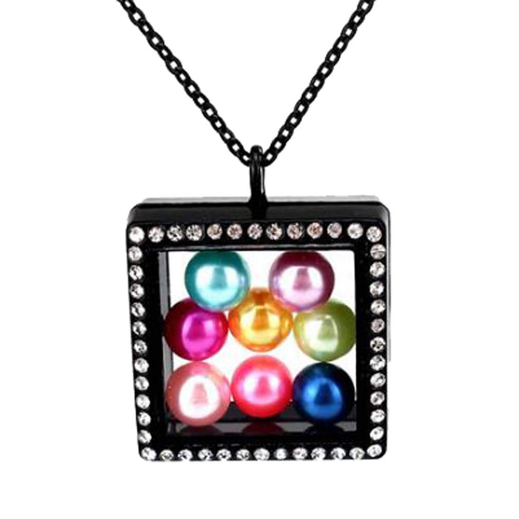 CliPons Living Memory Floating Square Locket Pendant Necklace Crystal 316L Stainless Steel Black