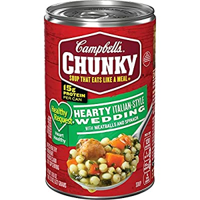 Campbell's Chunky Healthy Request Hearty Italian-Style Wedding with Meatballs and Spinach Soup, 18.6 oz. Can