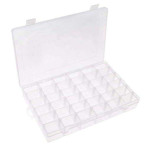 Opret 36 compartimentos Caja de almacenamiento de plástico con separadores ajustables Organizador de joyas: Amazon.es: Joyería