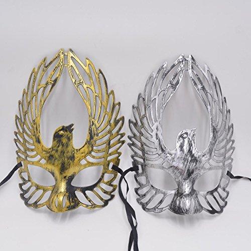Masquerade Mask Antique Halloween Costume - Yiseng Venetian Couple Party Mask Mardi Gras Roman Warrior Greek Gladiator Prop 2pcs set Gold Silver Bird
