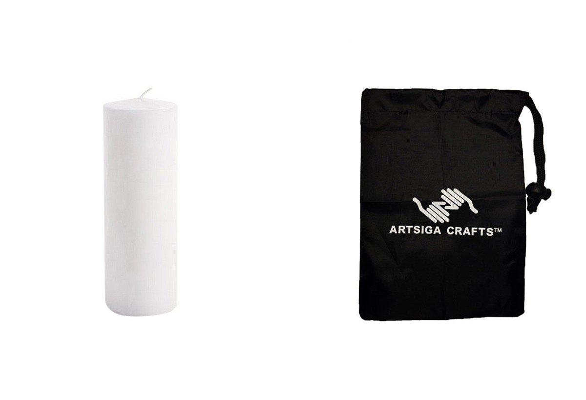 Darice Candles Wax Pillar Unscented White 3X8 3Pk (4 Pack) 1162-92 bundled with 1 Artsiga Crafts Small Bag by Homeline Goods Candles