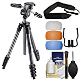 Manfrotto 65'' Compact Advanced Aluminum Tripod & 3-Way Head with Case (Black) with Strap + Diffuser Filter Set + Kit