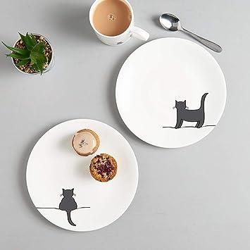 JIN diseños porcelana china, Set de dos placas laterales con pie gato y en cuclillas de gato - 8 Inch - regalo para gatos.: Amazon.es: Hogar