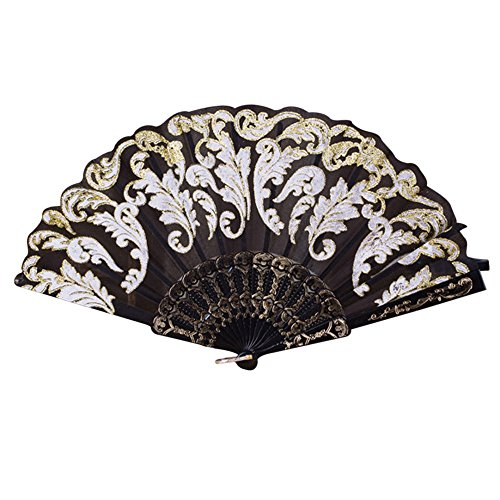 Folding Fans ,Rosiest Chinese/Spanish Style Dance Wedding Party Lace Folding Hand Held Flower Fan (Black)