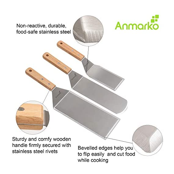 Professional Spatula Set - Stainless Steel Pancake Turner and Griddle Scraper 4x8 inch Oversized Hamburger Turner Great for Griddle BBQ Grill and Flat Top Cooking - Commercial Quality 2 ✅ STAINLESS STEEL SPATULA SET - includes 1 x cooking spatula turner, 1 x grill spatula, 1 x griddle scraper . Great for use as pancake turner, fish turner spatula, griddle spatula, kitchen spatula. ✅ PROFESSIONAL QUALITY - spatulas and scraper are good for use by professional chefs in restaurants and food shops as well as griddle grill accessories set for your kitchen or backyard barbecue ✅ MADE FROM STURDY STAINLESS STEEL - non-reactive, hygienic and durable . Spatula stainless steel blade thickness is 1/25 inch.