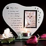 Special Cat Keepsake Grave Memorial Glass Ornament Cat Plaque Poem Candle Photo holder
