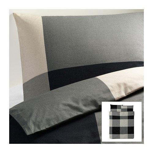 Ikea Brunkrissla Twin Duvet Cover and Pillow Case, Black/gra