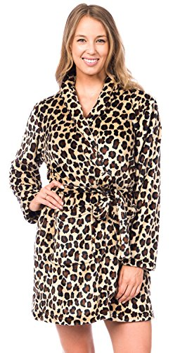 Patricia Womens Knee Length Ultrasoft Premium Plush Shawl Collar Robe (Leopard Print, S/M)