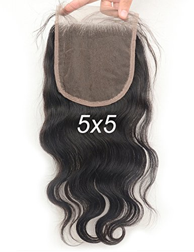 Vogue Queen Body Wave 5x5 Lace Closure Virgin Brazilian Human Hair Lace Pieces with Baby Hair Natural Color (Body Wave,18 inches) (Queen Vogue)