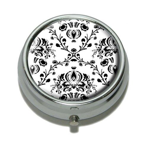 Damask Elegant Black White Trinket