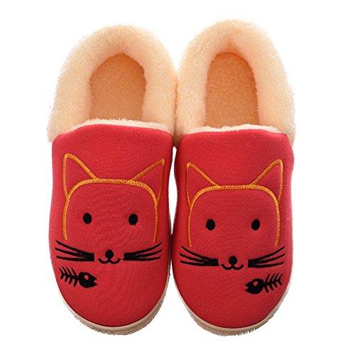 Cybling Womens Cute Cartoon House Slipper Warm Pluizig Indoor Outdoor Schoenen Antislip Rood
