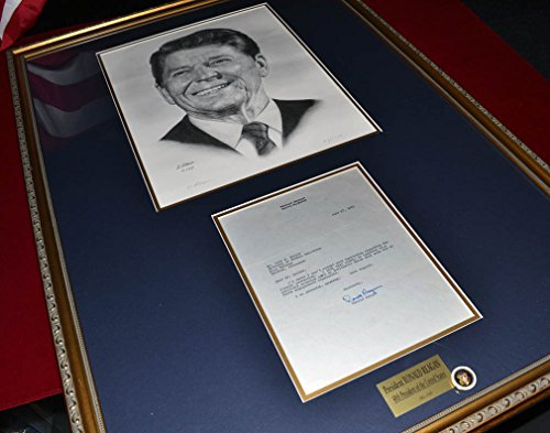 RONALD REAGAN Signed Typed LETTER,1965, PSA/DNA, + Artist Numbered & Signed Lithograph, BOOK, DVD, NEWSPAPER & Funeral PROGRAM