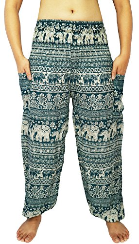 Lovely Creations Women's Smocked Waist 21-38 Inchs Hippie Boho Harem Pants (SJ Green1)