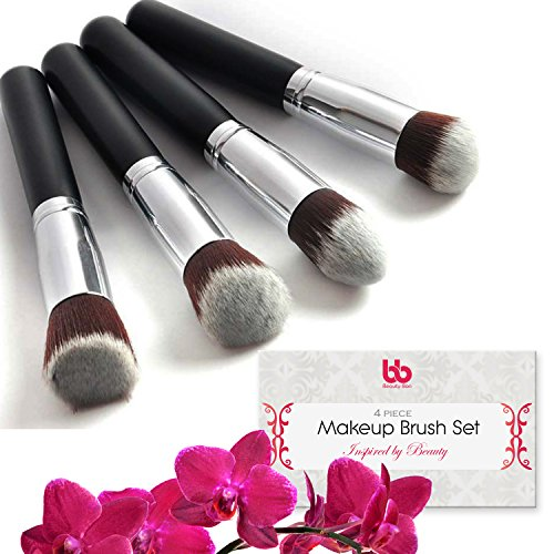 Professional Makeup Brushes, Set, 4 Pieces, Vegan, with Plastic Handles, Kabuki Flat Brushes for Blending, Highlighting & Contouring, By Beauty Bon®
