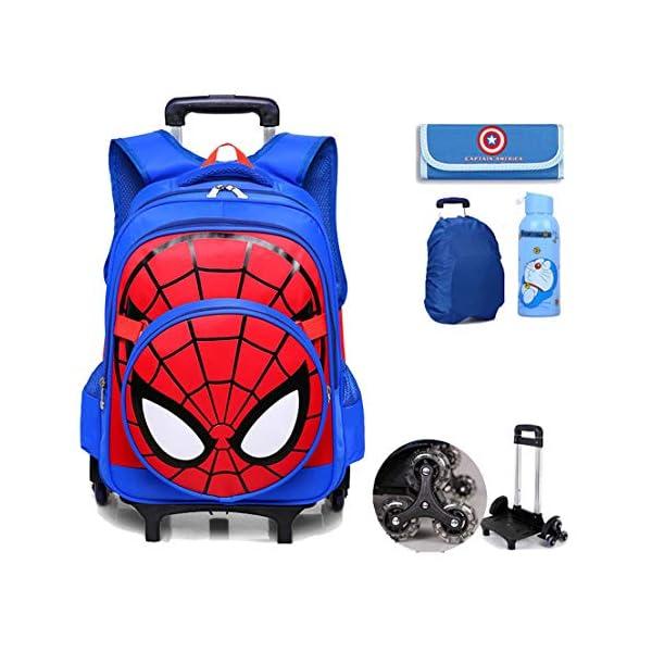 MODRYER I Bambini Spiderman Zaino Set, Studente Ruote Daypack Scuola Impermeabile Borse elementare Studenti Zaino… 1 spesavip