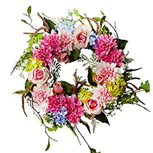 "24"" Dahlia/Rose/Hydrangea Flower Wreath, Wreath for Front Door, Beautiful Handcrafted Wreath for Home Decor, Weddings Pink 66"