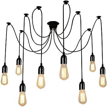 8 Cabezas de Luz Araña Moderna Comedor Industrial Luz Ajustable ...