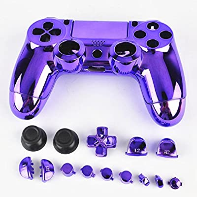 3CLeader® Case Cover Shell Skin for PS4 DualShock 4 Controller with Buttons Chrome Plating Color Purple from 3CLeader®