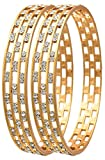 Jewels Galaxy Elegant Gold Aaa American Diamond Bangle Set For Women & Girls - Pack Of 2 (2.6)