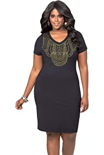 5c92e34c2f0 New Plus Size Black Studded Front Midi Dress Office Dress Casual Evening  Party Size UK 14