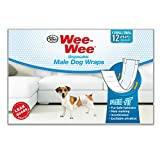 Wee-Wee Products Disposable Male Dog Wraps (12 Pack), X-Small/Small