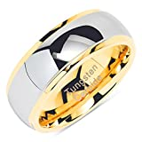 100S JEWELRY Tungsten Rings For Men Women Wedding Band Two Tones Gold Silver Engagement Size 6-16 With Half Sizes Available (15)