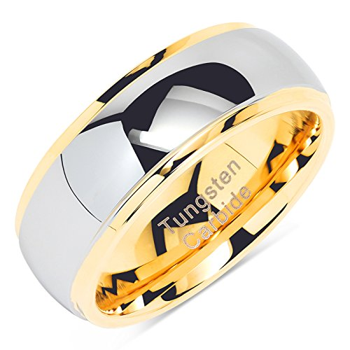 100S JEWELRY Tungsten Rings For Men Women Wedding Band Two Tones Gold Silver Engagement Size 6-16 With Half Sizes Available (10) by 100S JEWELRY (Image #1)