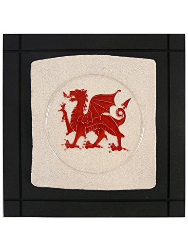 Welsh Dragon Ceramic Art Tile Wall Hanging, 7.5